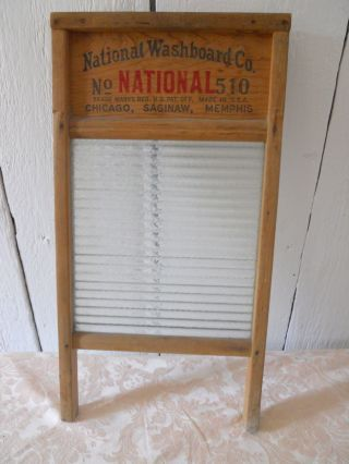 Vintage Antique National Washboard Co Atlantic No 510 Wood Frame W/glass Board photo