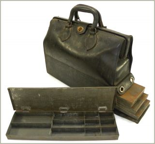 1930 ' S Vintage Leather Doctors Satchel Bag With Five Medicine Trays photo
