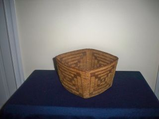 Antique Western Native American Indian Pima Hand Woven Rare Square Form Basket photo