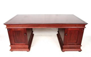 Partners Desk Large Mahogany Antique Repro Pedestal Desk English Library photo