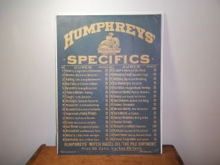 Antique Humphreys Specifics Homeopathic Apothecary Poster F Tuchfarber Printer photo