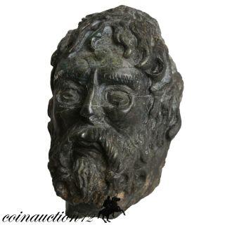 Scarce Greek Hand Made Carved Zeus Head,  Onyx Stone 1800 - 1850 Ad photo