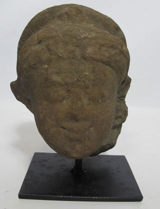 Madhya Pradesh Rajasthan Post Gupta Stone Head Crown Devi Deity Ruler Maiden Yqz photo