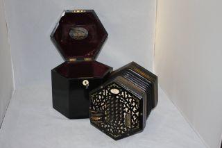 Antique Lachenal & Co.  London Concertina W/orig.  Case 48 Key Circ 1896 photo