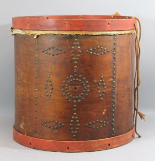 Authentic Antique 1841 Eli Brown & Son Brass Tack Military Parade Drum No 2165 photo