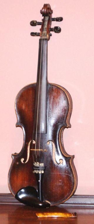 Fine 19th Century Antique Inlaid Full Size 4/4 Violin 1883 photo
