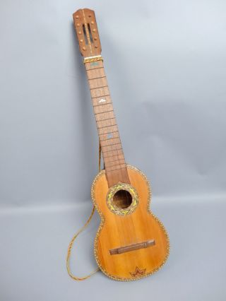 Vintage Early 20c Andean Armadillo Shell Ornate Inlay Charango Lute photo
