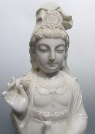 Large Stone Carved Guanyin Buddha Kwan - Yin Buddhist Statue Sea Boddhisattva Yqz photo