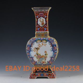Chinese Handwork Paint Cloisonne Flowers & Birds Porcelain Vase W Yongzheng Mark photo
