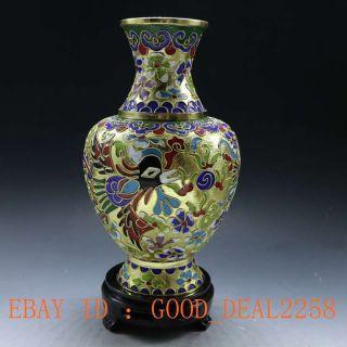 Chinese Handwork Brass Cloisonne Dragon & Phoenix Vase photo