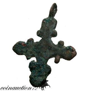 Wearable,  Bronze Crusaders Christian Cross Pendant 1095 – 1291 Ad photo