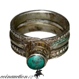 Intact Near Eastern Medieval 1500 - 1600 Ad Silver Ring photo