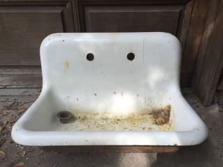 Vintage Antique 30x18 Cast Iron Porcelain Farmhouse Utility Sink Easy To photo