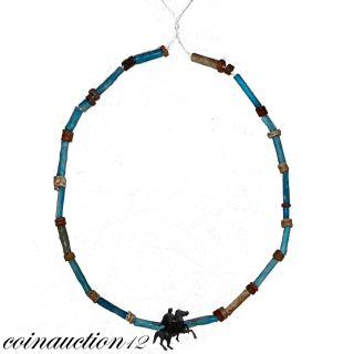 Scarce Egyptian Faience Blue & Glass Beads Necklace 700 - 500 Bc photo
