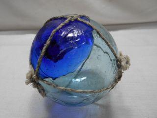 Vintage Glass Fishing Float Cobalt Blue Seal Mark 56 Japanese 2.  25