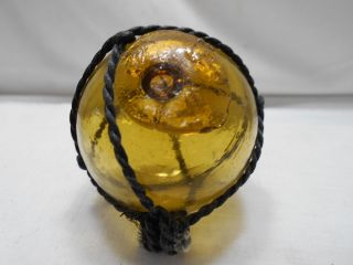 Vintage Glass Fishing Float All Over Amber Yellow Rivermouth Japanese 2.  25