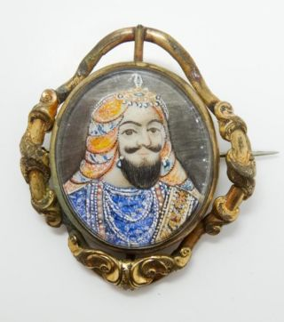 Antique 19c Hand Painted Mughal Miniature Painting Of King Brooch Pin photo