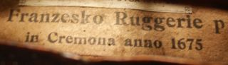 Italian,  Antique Franzesko Ruggerie 4/4 Labeled Old Master Violin photo