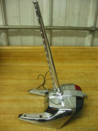 Antique Vintage Chris Craft Garwood Century Boat Chrome Bow Light With Flag Pole photo