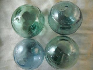 4 Vintage Japanese Squiggly Surface Glass Floats Alaska Beach Combed photo