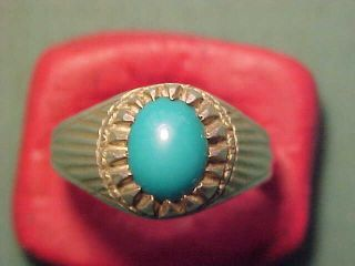 Near Eastern Hand Crafted Silver Ring With Turquoise Stone photo