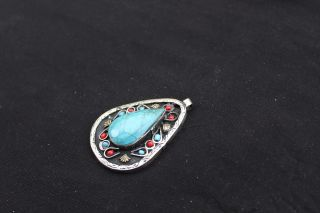 Ethnic Vintage Antique Traditional Tribal Handmade Kuchi Pendant Turquoise Old photo