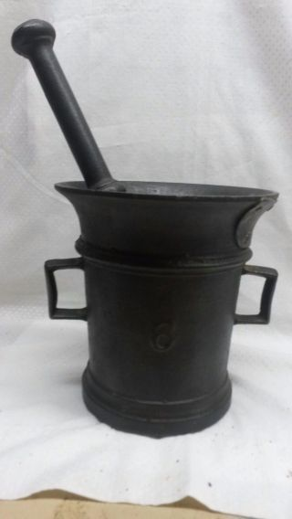 Vintage Large Cast Iron Mortar And Pestle (about 10lbs. ) photo