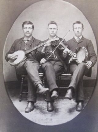Cabinet Card Photo 3 Men With Musical Instruments Banjo Violin Tabourine 1800 ' S photo