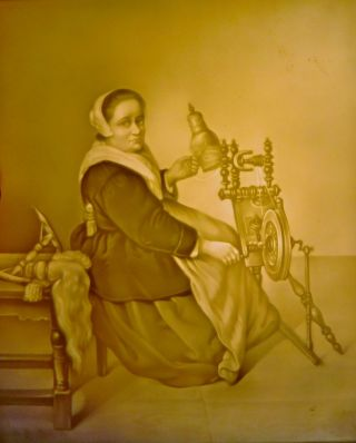 Large Antique Lithophane Panel Woman At Spinning Wheel Ppm 502 6.  5 X 5.  5