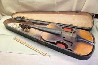 Antique Violin 23½ Long With Antique Wood Case photo