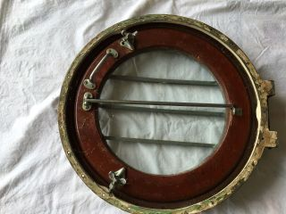 Vintage Chris Craft Teak & Bronze Deck Hatch / Porthole W/ Mounting Ring, photo