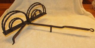 Early Wrought Iron Revolving Toaster For Open Hearth - Rotating Toasting Broiler photo