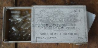 Antique Smith Kline French Phila Pa Capsule Box W/contents Apothecary Medicine photo