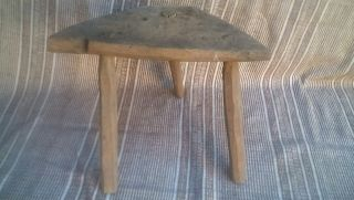 Antique Primitive Wooden Three - Legged Chair Natural Patina 13 photo
