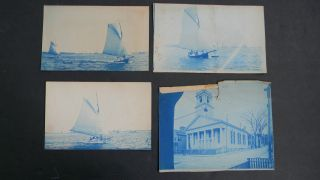 Antique Cyanotype Photographs Of Yachts Off Bedford photo