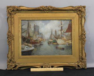Antique Henri Stacquet Belgian Impressionist Boat Harbor Watercolor Painting photo