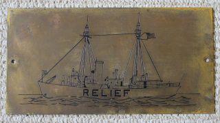 Vintage Brass Plaque/us Lighthouse Service Lightship/relief/coast Guard photo