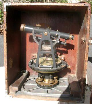 Vintage Transit Compass Aloe Dietzgen Theodolite Wye Level W/ Dovetail Wood Box photo