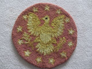 Antique Vntg Round Hooked Primitive Rug Folk Art Eagle Stars Patriotic Wall Art photo