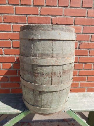 Antique 1800s Wooden Oak Barrel Vintage Primitive Rustic Farm Decor2503 photo