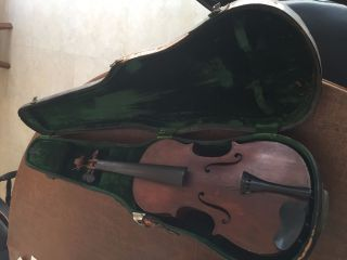 Antique Violin And Case (german,  C.  150 Years Old) photo