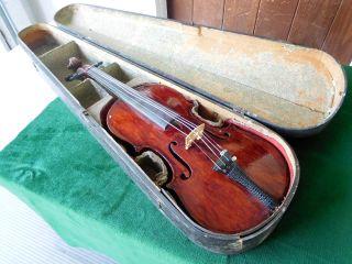 1800 ' S Full Size 4/4 Antique Violin W/coffin Case photo