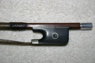 Old Antique French 4/4 Violin Bow Stamp Illegible Pernambuco Repair photo