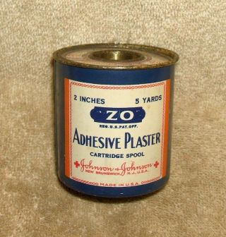 Late 1800 ' S Johnson & Johnson Zo Adhesive Plaster Cartridge Spool Tin photo