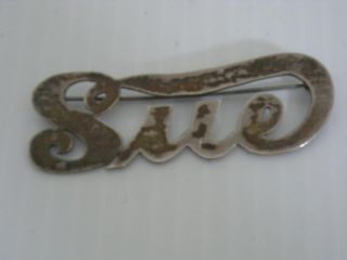 Vintage Sterling Silver Sue Susan Suzanne Pin / Brooch - Great Gift - photo