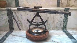 Antique Alidade Telescope With Compass Nautical Antique Brass Marine Collectible photo