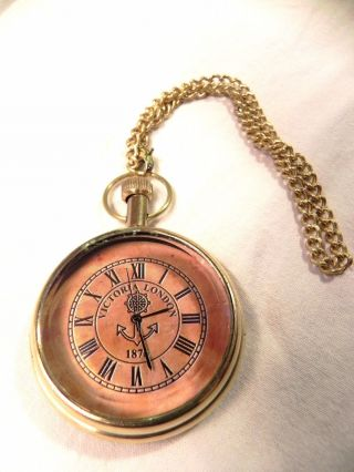 Nautical Maritime Brass Pocket Watch Victoria London 1876 Fully photo