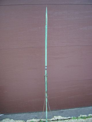 Antique Copper Lightning Rod With Base Metal 3 Legged Stand 58 Inches photo