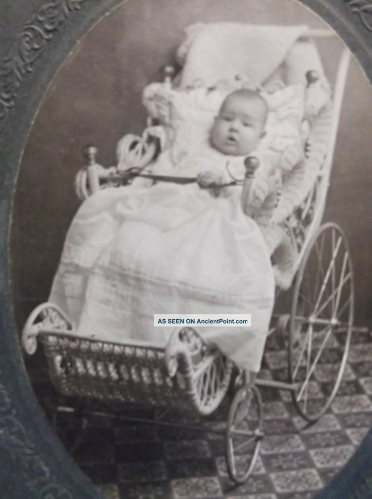 Old Photo Cute Baby Buggy Wicker Pram Victorian Identified Cynthiana Kentucky Baby Carriages & Buggies photo