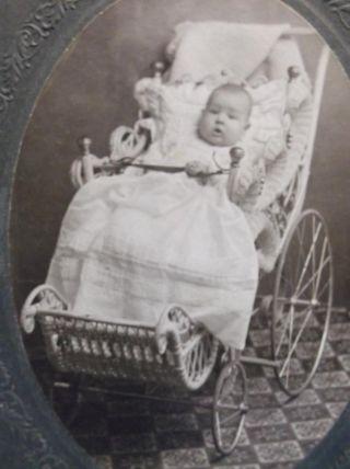 Old Photo Cute Baby Buggy Wicker Pram Victorian Identified Cynthiana Kentucky photo